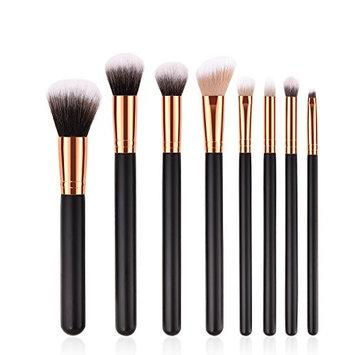 Premium Makeup Brushes Set Synthetic Kabuki Face Foundation Blending Cosmetic Eye Shadow Powder Blush Brush Makeup Brushes Kit(8pcs,Silver Black)