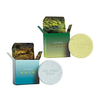 Organic Exfoliating Bars of Soap, Natural Ingredients, Assorted Scents, Icelandic Kelp & Moss, Set of 2, 4.3 oz. Each