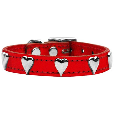 Mirage Pet Products 8314 16RdM Metallic Heart Leather Red MTL 16