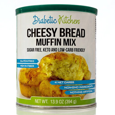 Diabetic Kitchen Cheesy Bread Muffin Mix Puts Bread Back On Your Menu ● Low-Carb, Keto-Friendly, Sugar-Free, Gluten-Free, High-Fiber, Non-GMO (24 Servings)