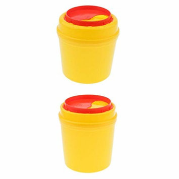 D DOLITY Plastic Sharps Biohazard Disposal Container with Lid, 1L 2L (Pack of 2)