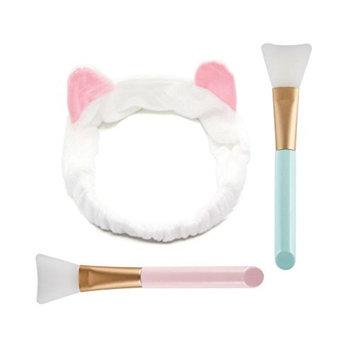 Aysekone DIY Facial Mask Tool Set:1pc Cute White Elastic Cat Ears Wash Hair Headband and 2pc Professional Silicone Facial Face Mask Brushes