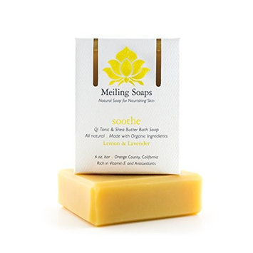 Soothe - Natural Lemon Lavender Organic Soap Bar Organic Shea Butter Soap w/ Vitamin E & Antioxidants - 6 Ounce Moisturizing Organic Soap Bar from Meiling Soaps