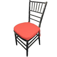 LA Linen PopChiavaryPadCover-Pk4-CoralP55 Polyester Poplin Chiavary Chair Cushion Cover Coral - Pack of 4