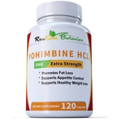 RaeSun Botanics Yohimbine HCL 5mg x 120ct Capsules Supplement Extra Strength Proven Fat Burner, Weight Loss, Appetite Control, Male Enhancement, and Energy