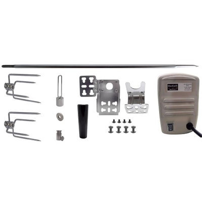One Grill Hexagon Rotisserie Spit Kit with Stainless Rotisserie Motor - 37 inch