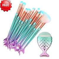 Fish Shape Make Up Brush Set, Kanhan 11PCS Make Up Brush- Concealer Brushes- Foundation Eyebrow Eyeliner Blush- Cosmetic Tool