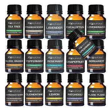 TOP 16 Essential oil Aromatherapy set 100% Pure Undiluted Therapeutic Grade (Lavender, Frankincense, Tea Tree, eucalyptus, Blood Orange, Peppermint, Lemongrass, Rosemary)
