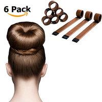 Magic Hair Bun Maker - 6 Pack - The Extra Strength Donut Crown Shaper (Bronze)