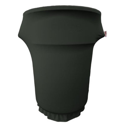 LA Linen SpandexCover55Gwheels-BlackX24 Spandex Cover Fitted for 55 gal Trash Can on Wheels Black