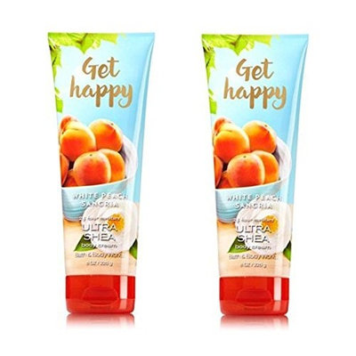 2PK Bath & Body Works Ultra Shea Cream Get Happy White Peach Sangria