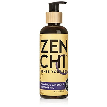 ZenChi Provence Lavender Massage Oil w/ Aromatherapy Essential Oils Sweet Orange, Benzoin, Bergamot, Spearmint, Lime — Box & Pump Included (8.5 oz)