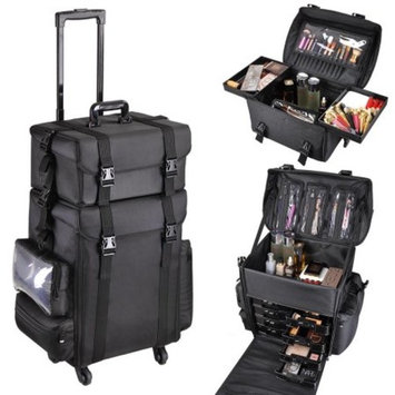 Multifunction Artist Rolling 2in1 360 Degrees 4- wheels Makeup Case Cosmetic 15x11x25
