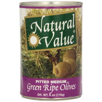Natural Value Green Ripe Olives, Pitted Medium, 6 Ounce (Pack of 12)