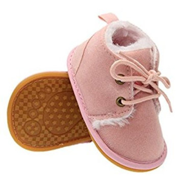 Highdas Baby Winter Warm Rubber Sole Prewalkers Shoes Plus Velvet Toddler Boots Shoes Pink 13cm [Pink, 13cm]