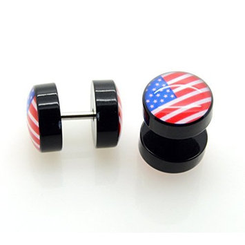 USA Flag Fake Plug Earrings - 16G (1.2mm), 2 Pieces! by ACCmall