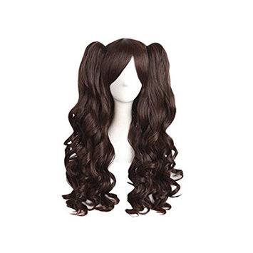 Fashionpifa Lolita Long Curly Clip on Ponytails Cosplay Wig
