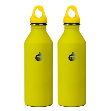 Mizu M8 Single Wall Stainless Steel Bottle 27 oz - 2-Pack Soft Touch Yellow