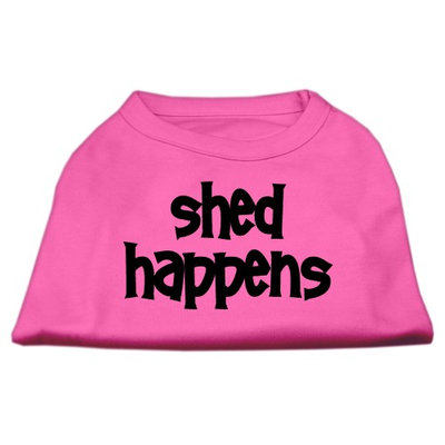 Mirage Pet Products 5149 MDBPK Shed Happens Screen Print Shirt Bright Pink Med 12