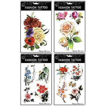 Grashine long last and realistic temp tattoo stickers 4pcs different roses and peony and chinese painting flowers temporary tattoo in 1 package