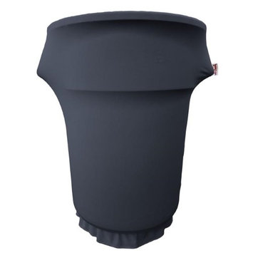 LA Linen SpandexCover55Gwheels-NavyX72 Spandex Cover Fitted for 55 gal Trash Can on Wheels Navy