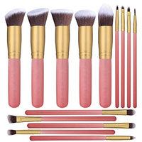 Showlovein Makeup Brushes 14 Pcs Synthetic Foundation Powder Concealers Eye Shadows Silver Black Makeup Brush Sets