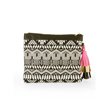 No Boundaries B/W Woven Wristlet Pouch