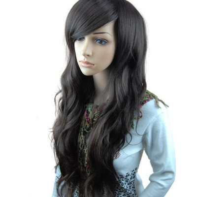 MelodySusie Dark Brown Curly Wig - Fascinating Women Long Curly Wig with Wig Cap (Dark Brown)