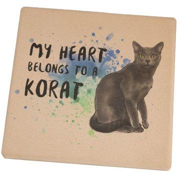 Animal World My Heart Belongs Korat Cat Set of 4 Square Sandstone Coasters