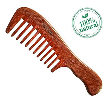 Yollodo Natural Red Sandalwood Wooden Comb - Light Weight Wood Comb Wide Tooth - NO Snags, NO Tangle, NO Static,Easy Carry for Women Detangling or Curly