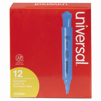 Universal Office Products 08864 Desk Highlighter Chisel Tip Fluorescent Blue 12/pk
