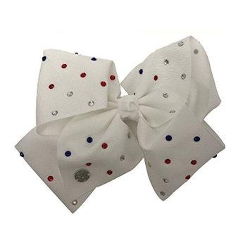 JoJo Siwa Large Cheer Hair Bow (White w/Red White & Blue Rhinestones)