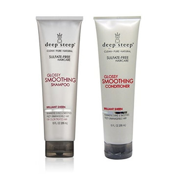Deep Steep Glossy Smoothing Shampoo and Deep Steep Glossy Smoothing Conditioner Bundle, Sulfate-Free Haircare For Frizzy Unmanageable Hair, 10 fl oz (295 ml) each