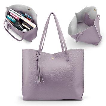 Women Tote Bag Tassels Leather Shoulder Handbags Fashion Ladies Purses Satchel Messenger Bags - Purple