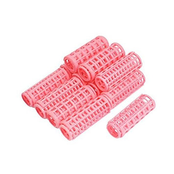 1pack Women / Lady Plastic Medium DIY Makeup Magic Circle Hair Protection Salon Styling Roller Curlers Clips (pink)