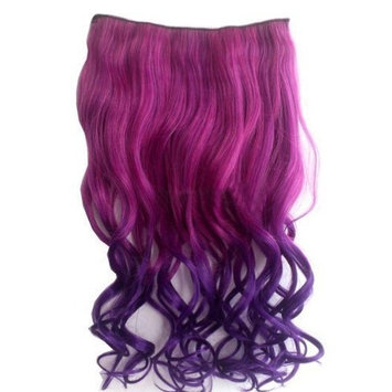 Idealgo Fashion Sexy Two Tone Long Curl/curly/wavy Clip in Hair Extensions Pieces Wig Girls Full Head Curly Wave 5 Clips Hair Extensions Hairpieces for Women (Hot Pink to...