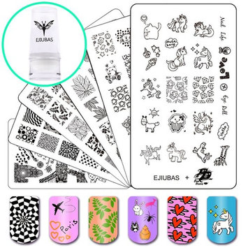 Ejiubas Nail Plates Stamping Set Image Nail Art Tools, 3Pcs Nail Stamp Plates + 1 Stamper +1 Scraper Nail Stamping Kits