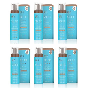 Selife Tan'n Go 1 Hour Express Bronzing Mousse with Instant Color, Medium Dark Tan, 7.5 Oz (Pack of 6) + Makeup Blender