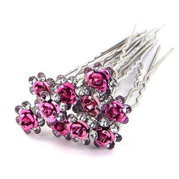 Braceus Wedding Prom Silver Crystal Diamante Rose Flower Hair Pins Clip Accessories