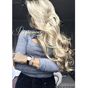 Riglamour Long Wavy Mixed Blonde Highlight Wig for Women Heat Resistant Synthetic Hair Replacement Wigs Lace Front [Highlight #24]