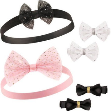 Hudson Baby Silver & Gold Headband & Bow Clip Set