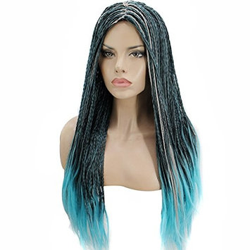 Anogol Women's Long Braided Cosplay Wig Blue Ombre Gray Halloween Costume Wigs