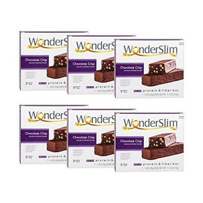 WonderSlim Low-Carb 15g Protein Diet Bar - Chocolate Crisp - High Fiber Weight Loss Snack Bar - Gluten Free (6 Boxes - Save 10%)