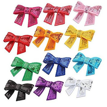 20PCS Assorted Colors Kid Baby Girls Bowknot Bling Small Handmade Sequin Hair band Bow DIY Tie Headbands Hair Clips Barrettes Accessories Headband For Decorate Applique Make Up