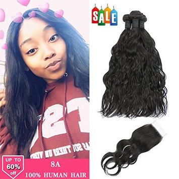 Fave Natural Wave Hair 3 Bundles with Closure 8A Unprocessed Malaysian Virgin Human Hair Natural Color (14 16 18+12)