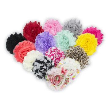 JLIKA (30 pieces) 15 Pairs Shabby Flowers - Chiffon Fabric Roses - 2.5