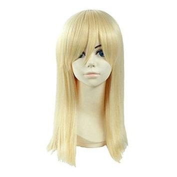 Angelaicos Unisex Straight Anime Cosplay Party Costume Wig Medium Blonde 18 Inches