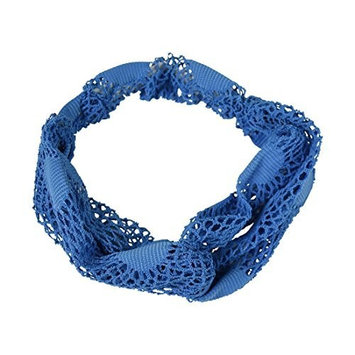 Crochet Turband Headwrap Hair Band - Blue by Motique Accessories