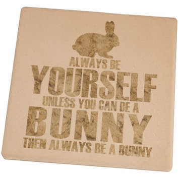 Animal World Always Be Yourself Bunny Set of 4 Square Sandstone Coasters