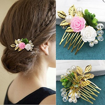 cuhair 1pc Wedding Party Pearl Flower Style Hair Comb Clip Barrette Pin Accessories For Women Lady Girl